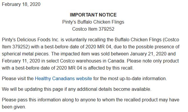 pintys chicken fling recall