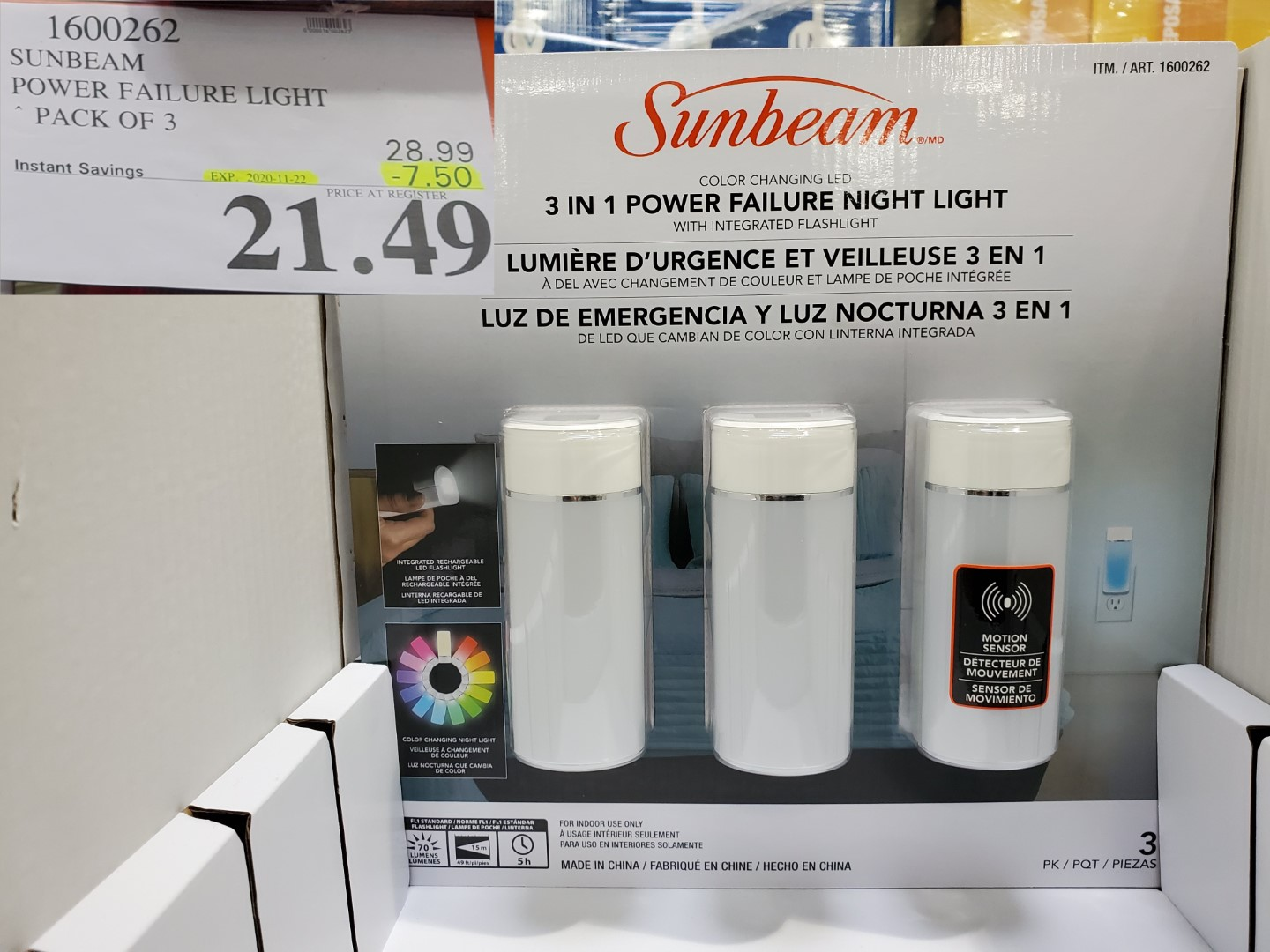 sunbeam emergency night light