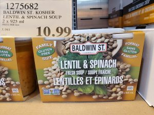 B aldwin St. lentil and spinach soup