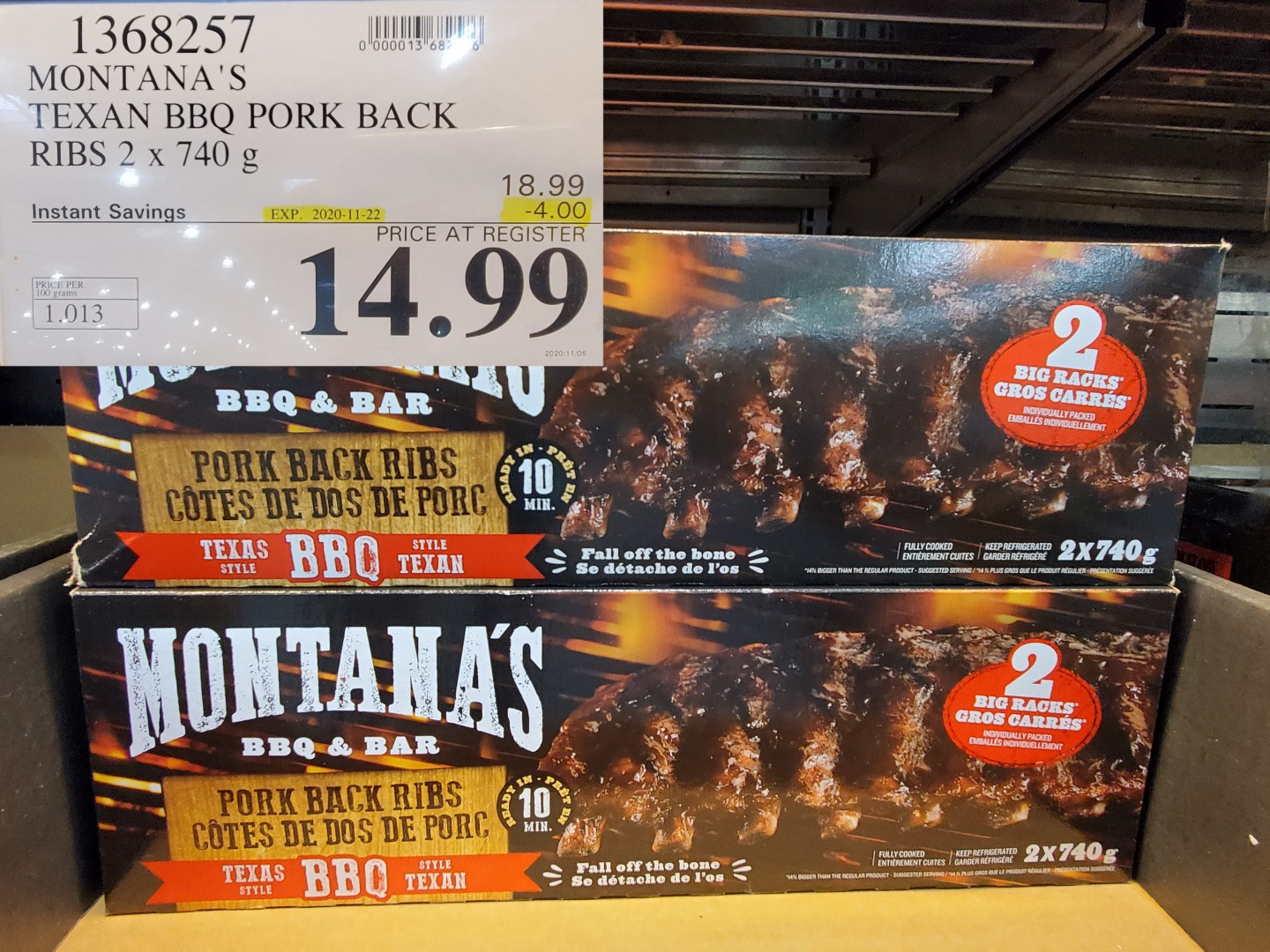 Montanas Texan BBQ pork back ribs