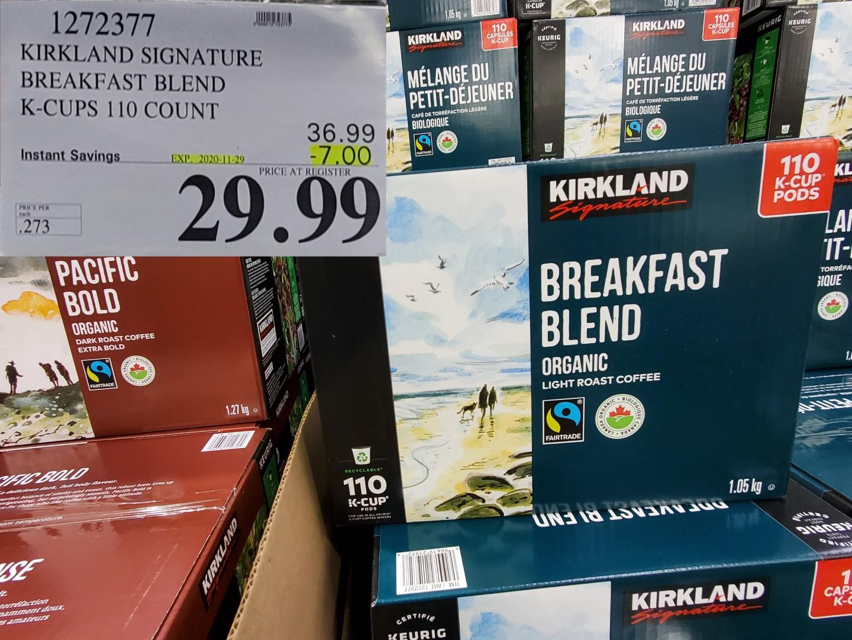 irkland breakfast blend k cups