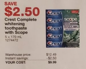 Crest Complete whitening toothpaste with scope