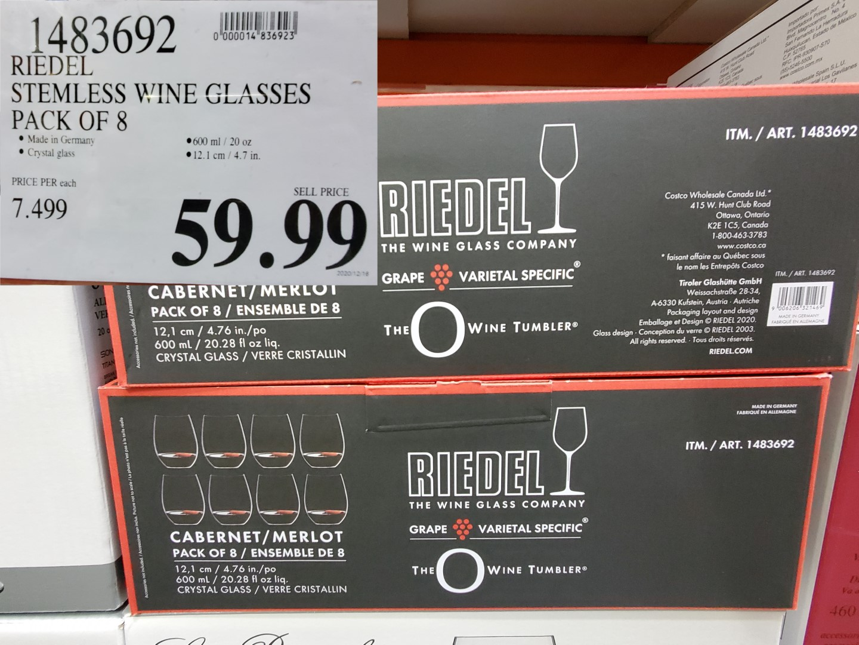 riedel stemless wine glass set