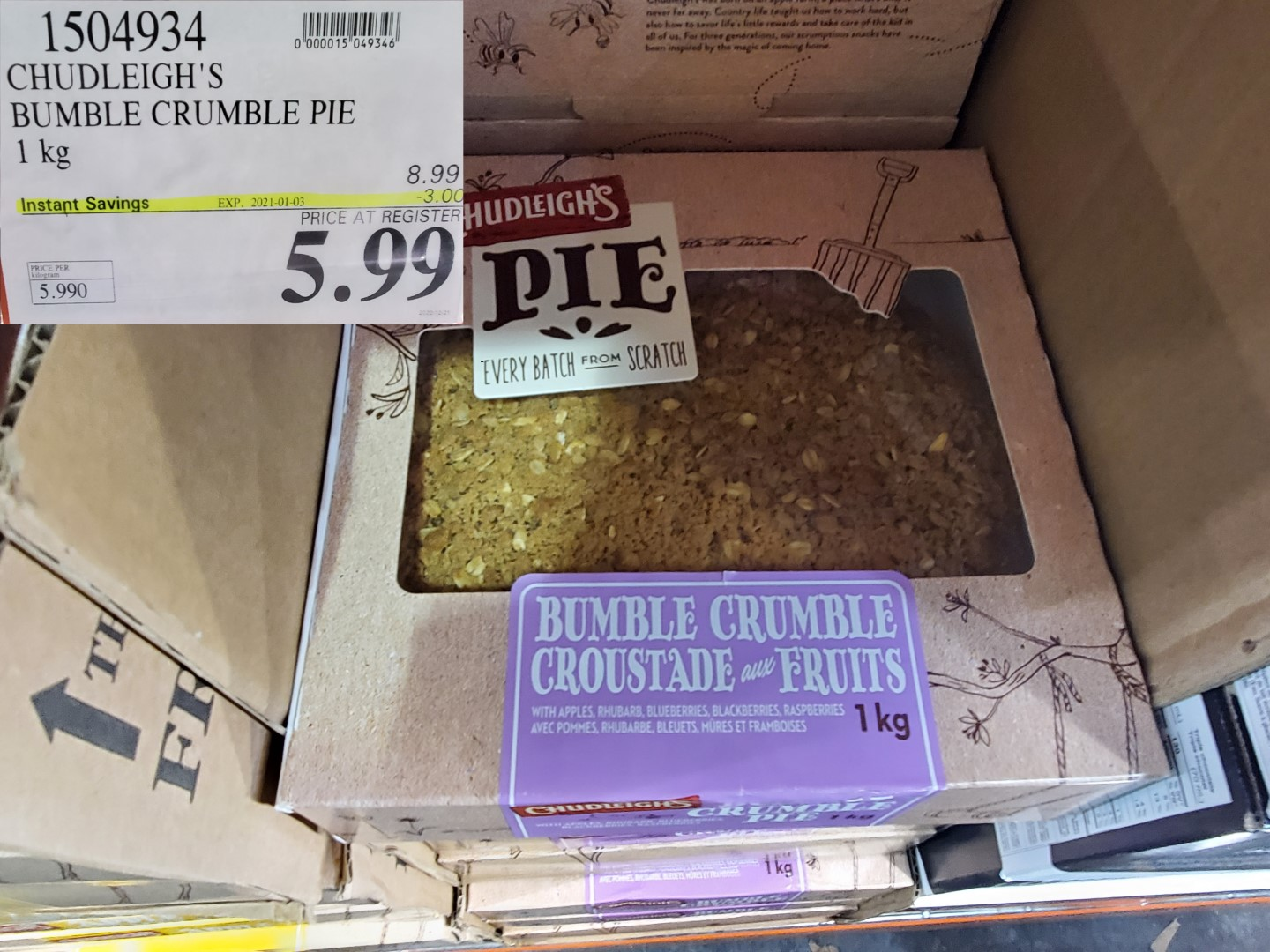chudleigh's bumble crumble pie