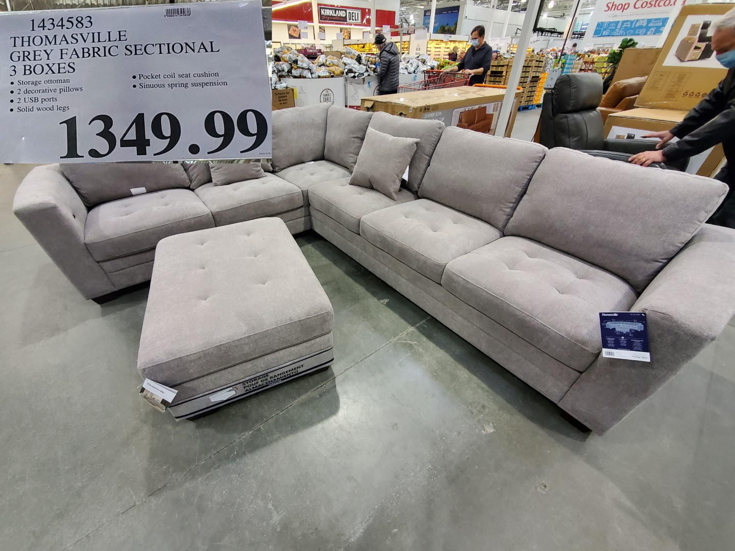 thomasville grey fabric sectional