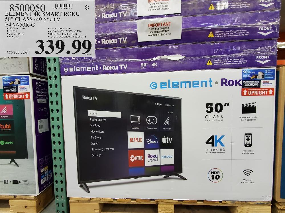 """8500050 ELEMENT 4K SMART ROKU 30"""" CLASS (49.5""""} TV $339.99"""