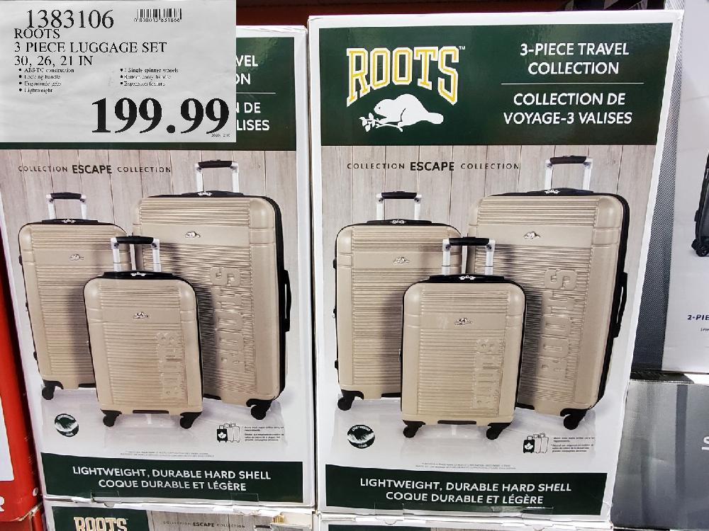 1383106 ROOTS 3 PIECE LUGGAGE SET 30 26 21 IN $199.99 2020/12/18