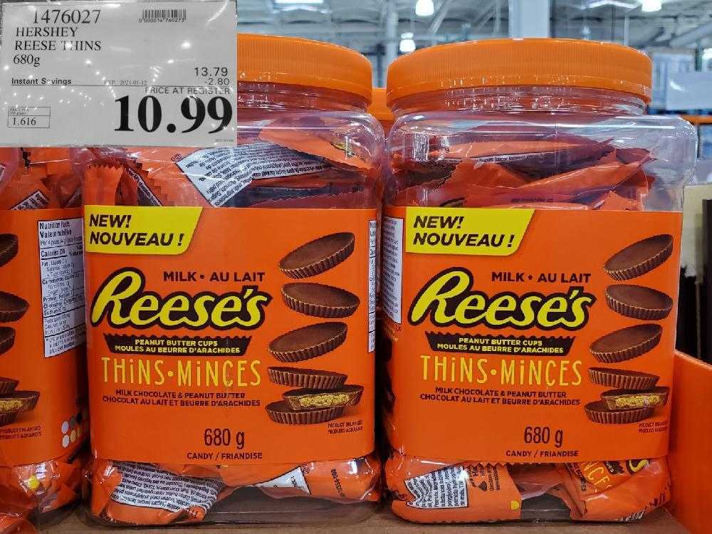 costco sales 1476027 HERSHEY REESE THINS 680g EXPIRY DATE: 2021-01-12 $10.99