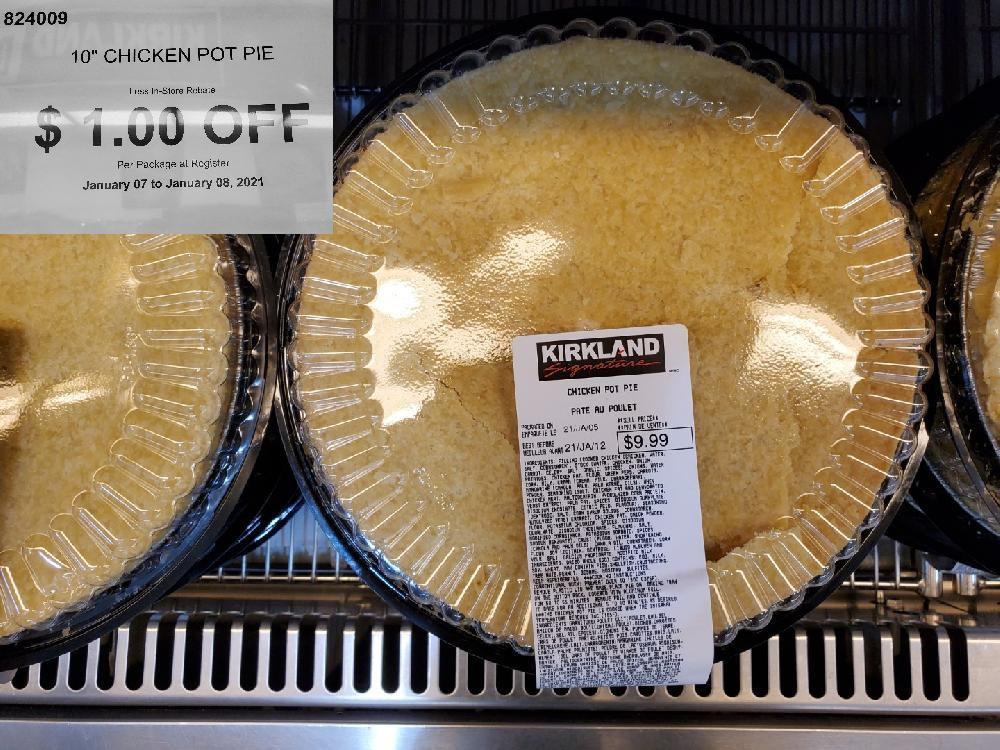 824009 1-CHICKEN POT PIE Less In-Store Rebate January 07 to January 08 2021 $1.00 OFF