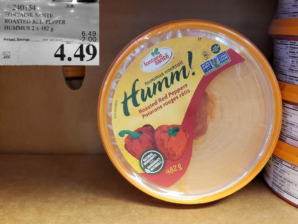 costco sales 940154 FONTAINE SANTE ROASTED RED PEPPER HUMMUS 2 x 482 EXPIRY DATE: 2021-01-10 $4.49