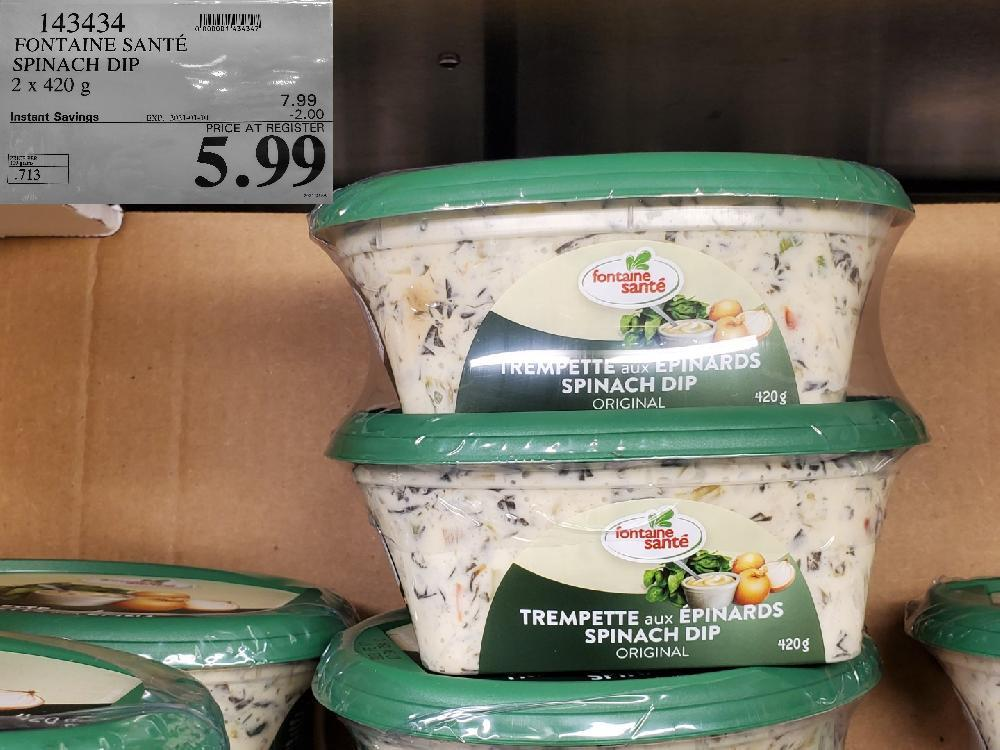 costco sales 143434 FONTAINE SANTE SPINACH DIP 2x 420 ¢g EXPIRY DATE: 2021-01-10 $5.99