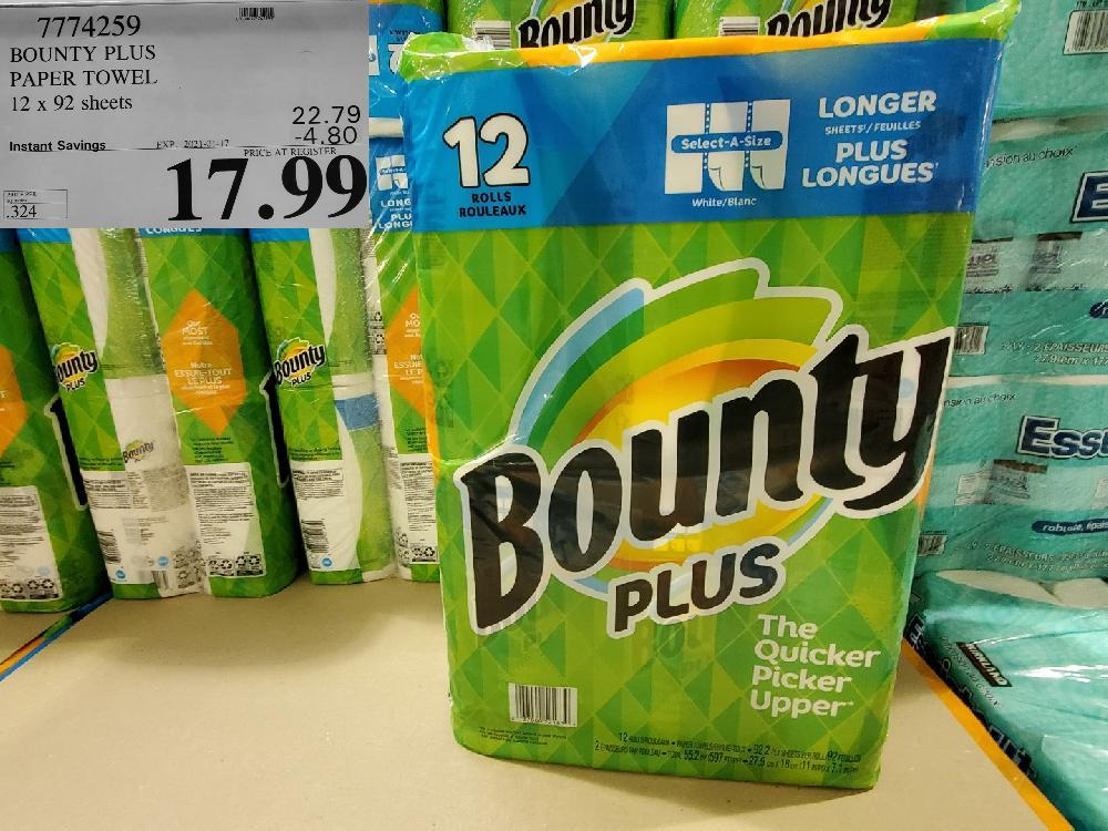 7774259 BOUNTY PLUS PAPER TOWEL 12 x 92 sheets EXPIRY DATE: 2021-01-17 $17.99
