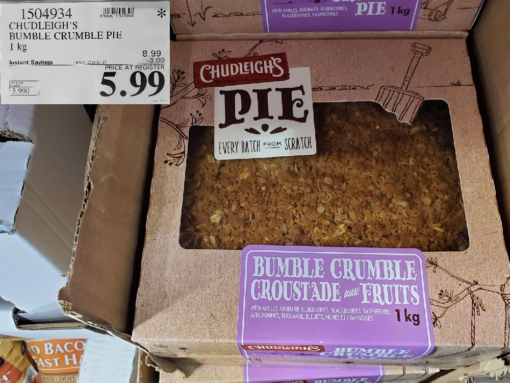 1504934 CHUDLEIGH'S BUMBLE CRUMBLE PIE 1 kg EXPIRY DATE:2021-01-17 $5.99