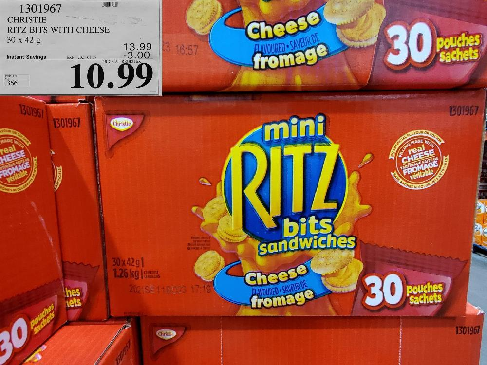 1301967 CHRISTIE RITZ BITS WITH CHEESE 30 x 42 g EXPIRY DATE: 2021-01-17 $10.99