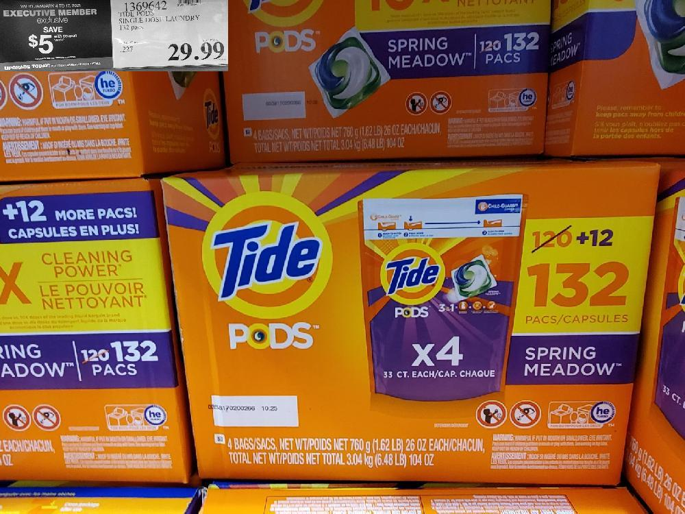 1369642 TIDE PODS SINGLE DOSE LAUNDRY 132 PODS VALID JANUARY 4 TO 17 2021 $29.99