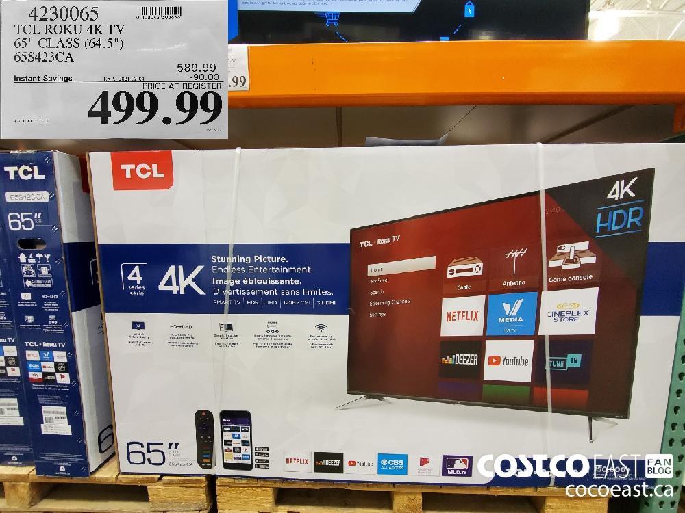 """4230065 TCL ROKU 4K TV 65"""" CLASS (64.5"""") EXPIRY DATE: 2021-02-04 $499.99"""