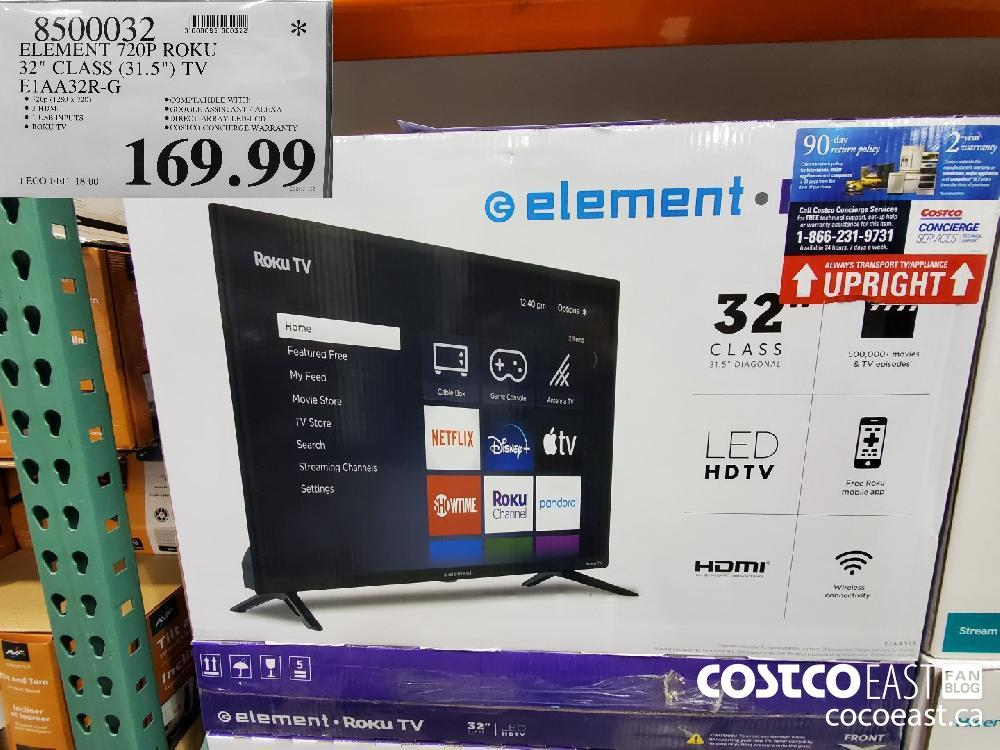 "8599032 ELEMENT 720P ROKU 32"" GLASS.(31.57) TV E1AA32R-G $169.99"