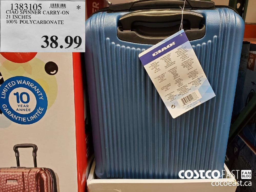 1383105 CIAO SPINNER CARRY-ON 21 INCHES 100% POLYCARBONATE $38.99