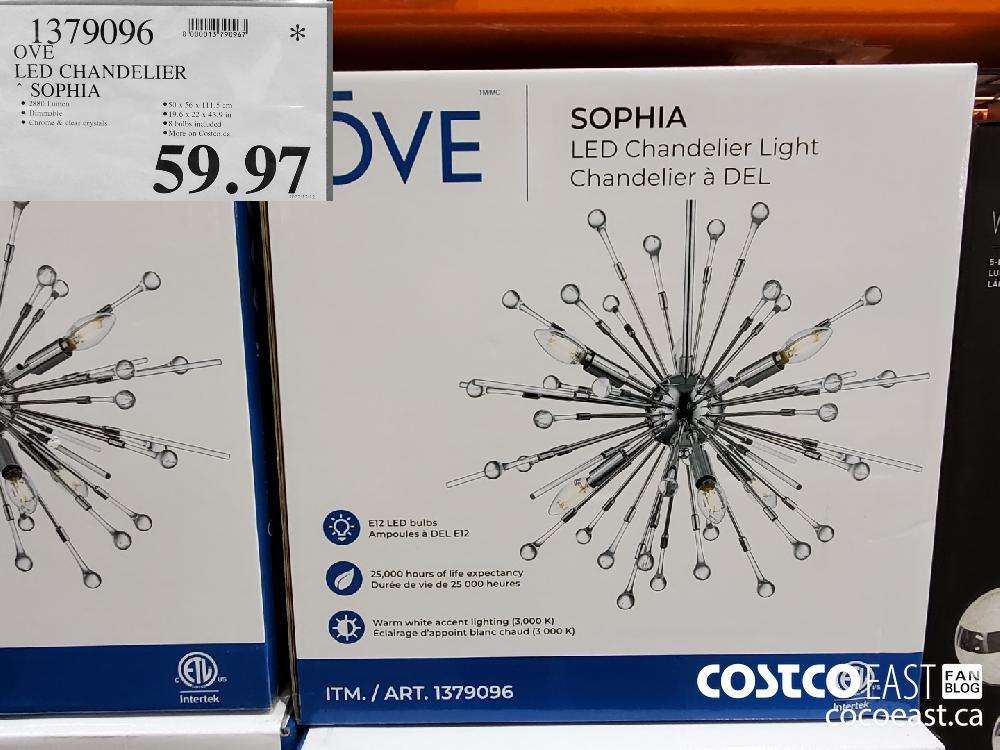 1379096 OVE LED CHANDELIER SOPHIA $59.97