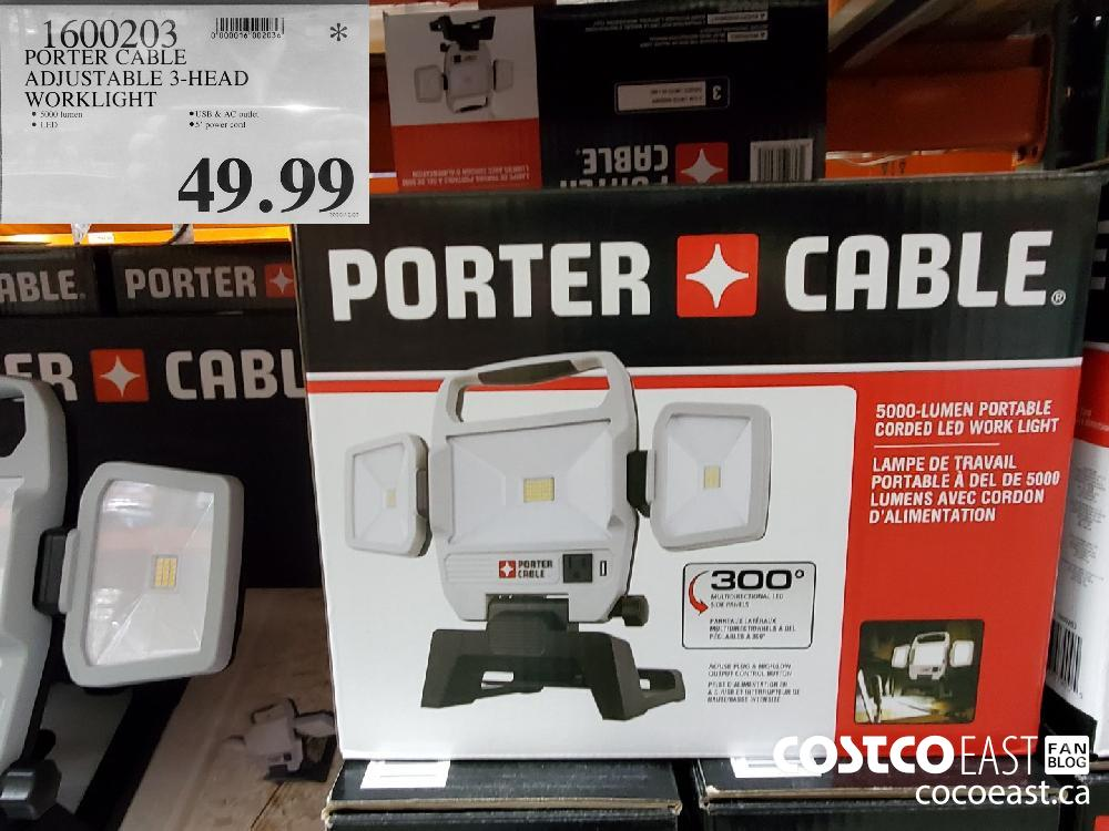 1600203 PORTER CABLE ADJUSTABLE 3-HEAD WORKLIGHT $49.99