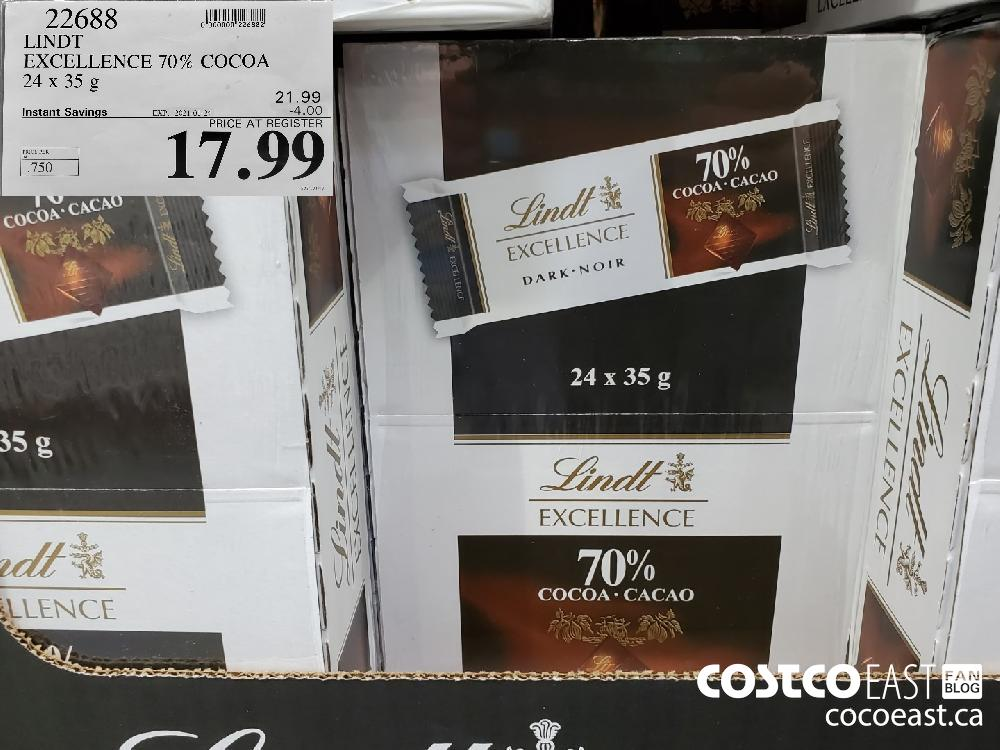 22688 EXCELLENCE 70% COCOA 24x 35G 21.99 EXPIRY DATE: 2021-01-24 $17.99
