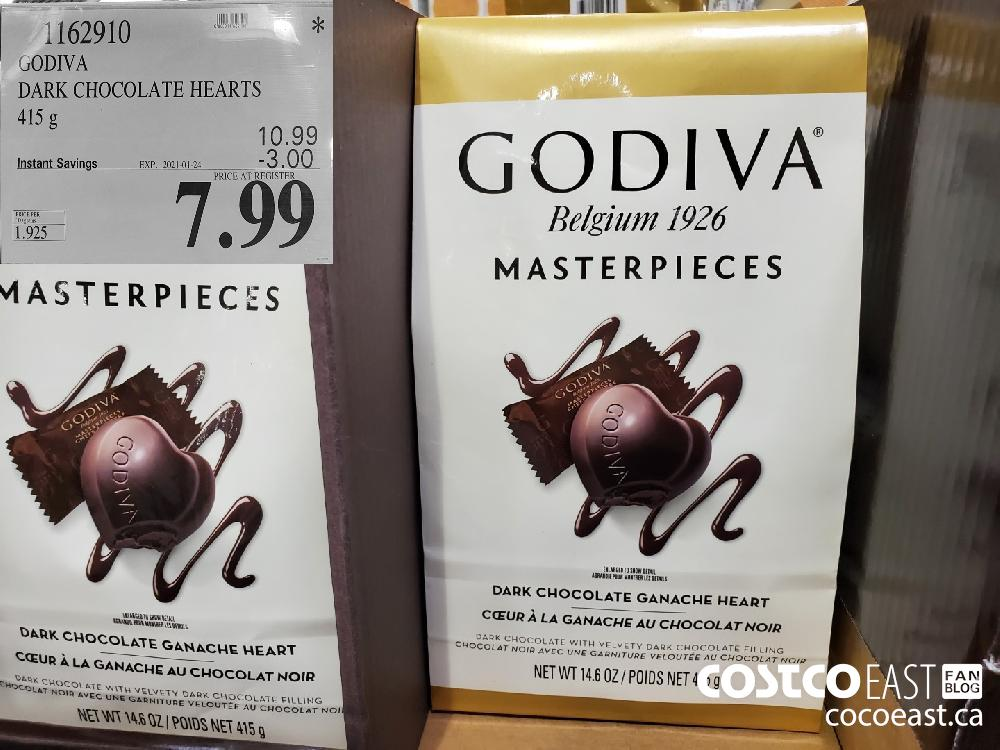 1162910 GODIVA DARK CHOCOLATE HEARTS 415 g EXPIRY DATE:_2021-01-24 $7.99