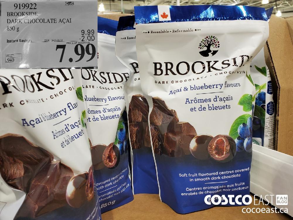 919922 BROOKSIDE DARK CHOCOLATE ACAI 850 g EXPIRY DATE: 2021-01-31 $7.99