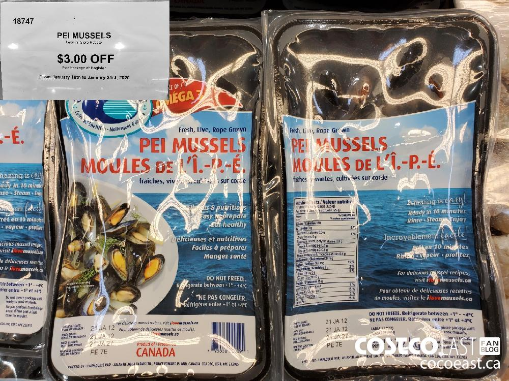 18747 PEI MUSSELS Less In—Store Rebate $3.00 OFF From January 18th to January 31st 2020