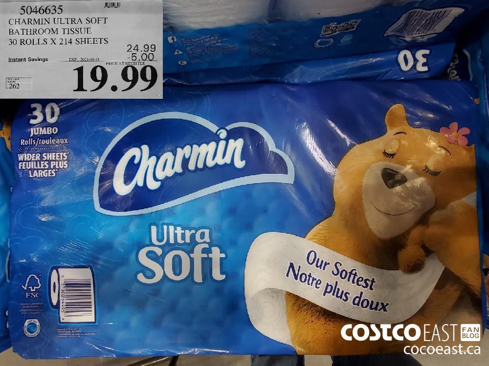 5046635 CHARMIN ULTRA SOFT BATHROOM TISSUE 30 ROLLS X 214 SHEETS EXPIRY DATE: 2021-01-31 $19.99