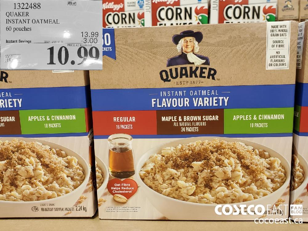 1322488 QUAKER INSTANT OATMEAL 60 pouches EXPIRY DATE: 2021-01-31 $10.99