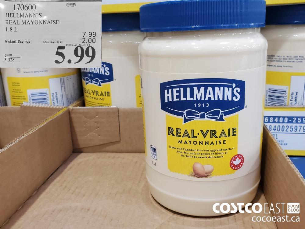 170600 HELLMANN'S REAL MAYONNAISE 1.8L EXPIRY DATE: 2021-01-24 $5.99