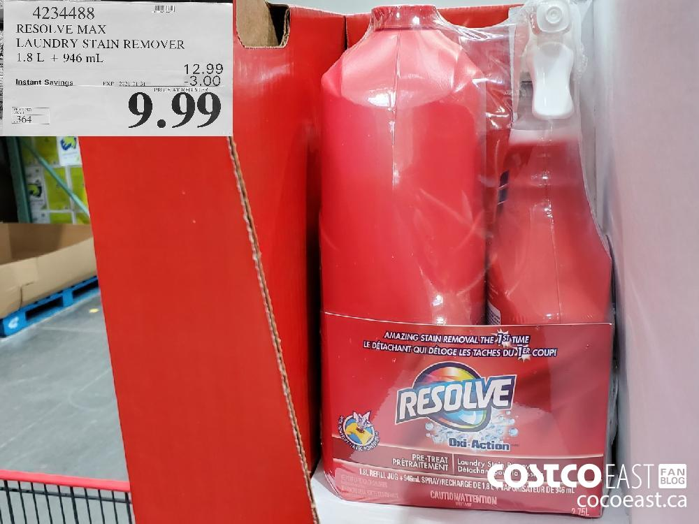 4234428 RESOLVE MAX LAUNDRY STAIN REMOVER 1.8L 946 mL EXPIRY DATE: 2021-01-31 $9.99