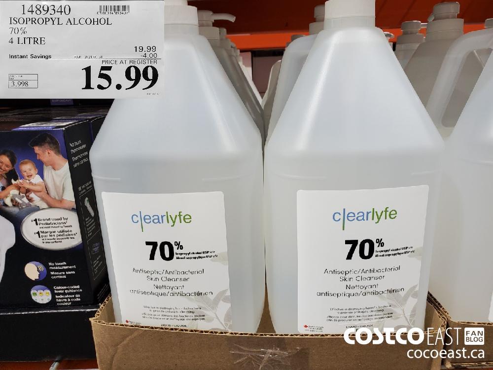 1489340 ISOPROPYL ALCOHOL 70% 4 LITRE EXPIRY DATE: 2021-01-31 $15.99