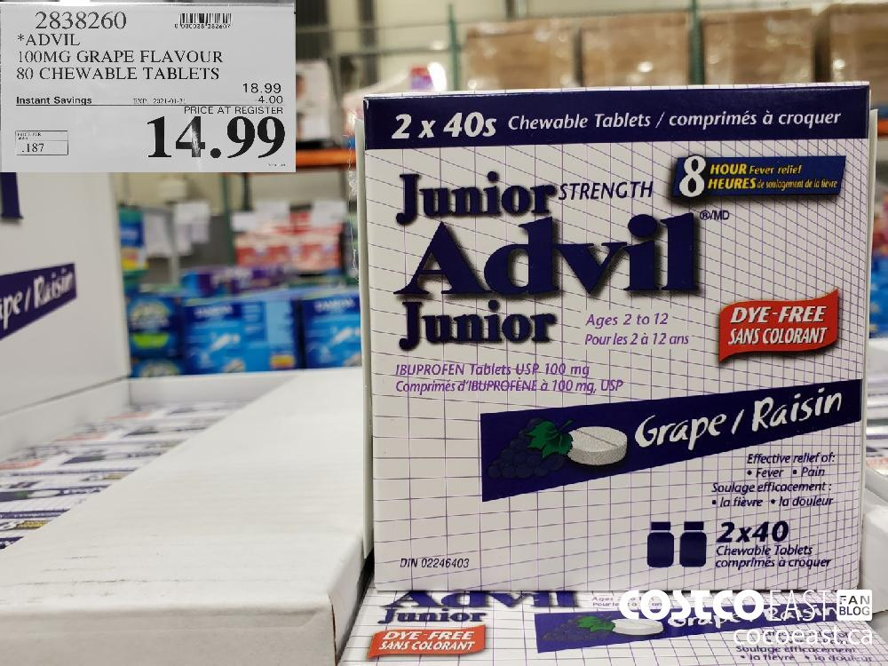 2838260 ADVIL 1OOMG GRAPE FLAVOUR 80 CHEWABLE TABLETS EXPIRY DATE: 2021-01-31 $14.99