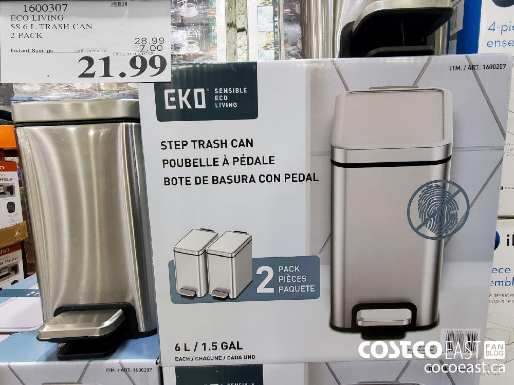 1600307 ECO LIVING SS 6L TRASH CAN 2 PACK $21.99