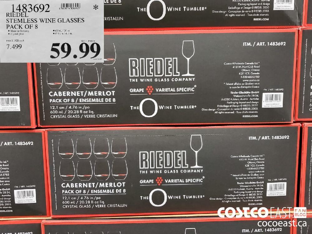 14836902 RIEDEL STEMLESS WINE GLASSES PACK OF 8 $59.99