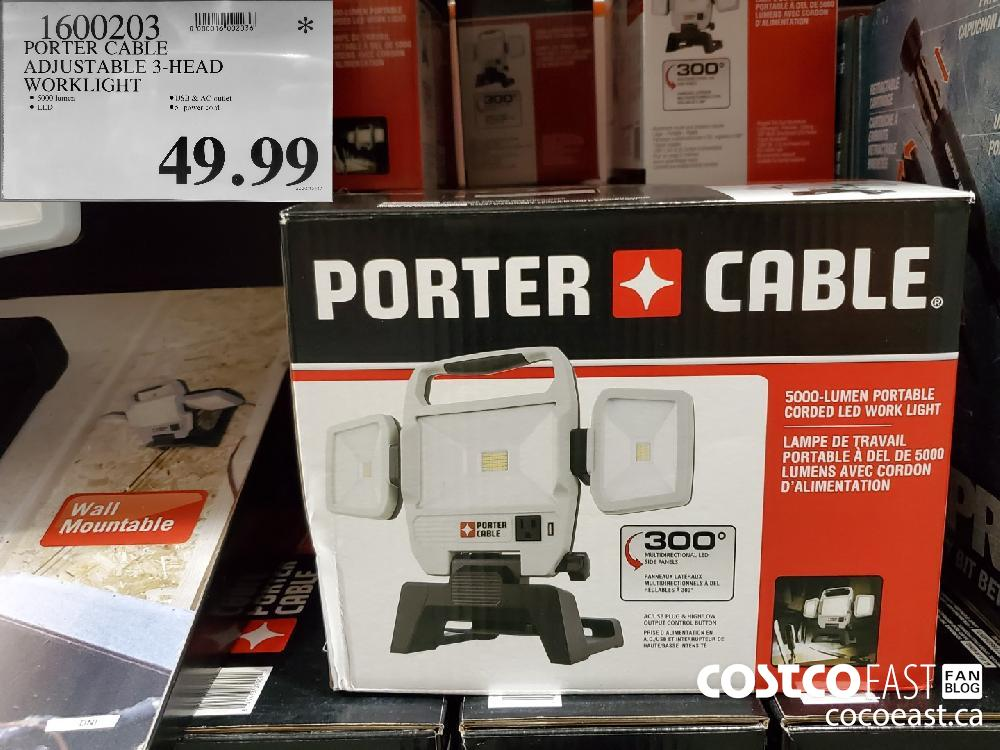 1600203 PORTER CABLE ADJUSTABLE 3-HEAD WORKLIGHT $49.99