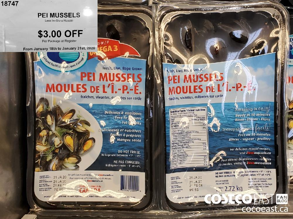 18747 PEI MUSSELS Less In—Store Rebate $3.00 OFF From January 18th to January 31st