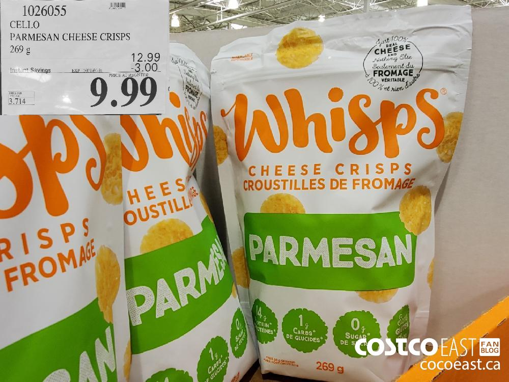 1026055 CELLO PARMESAN CHEESE CRISPS 269 G EXPIRY DATE: 2021-01-31 $9.99