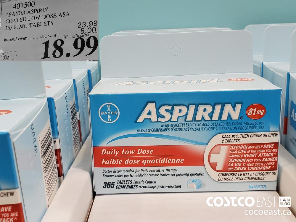 401500 BAYER ASPIRIN COATED LOW DOSE ASA 365 81MG TABLETS EXPIRY DATE: 2021-01-31 $18.99