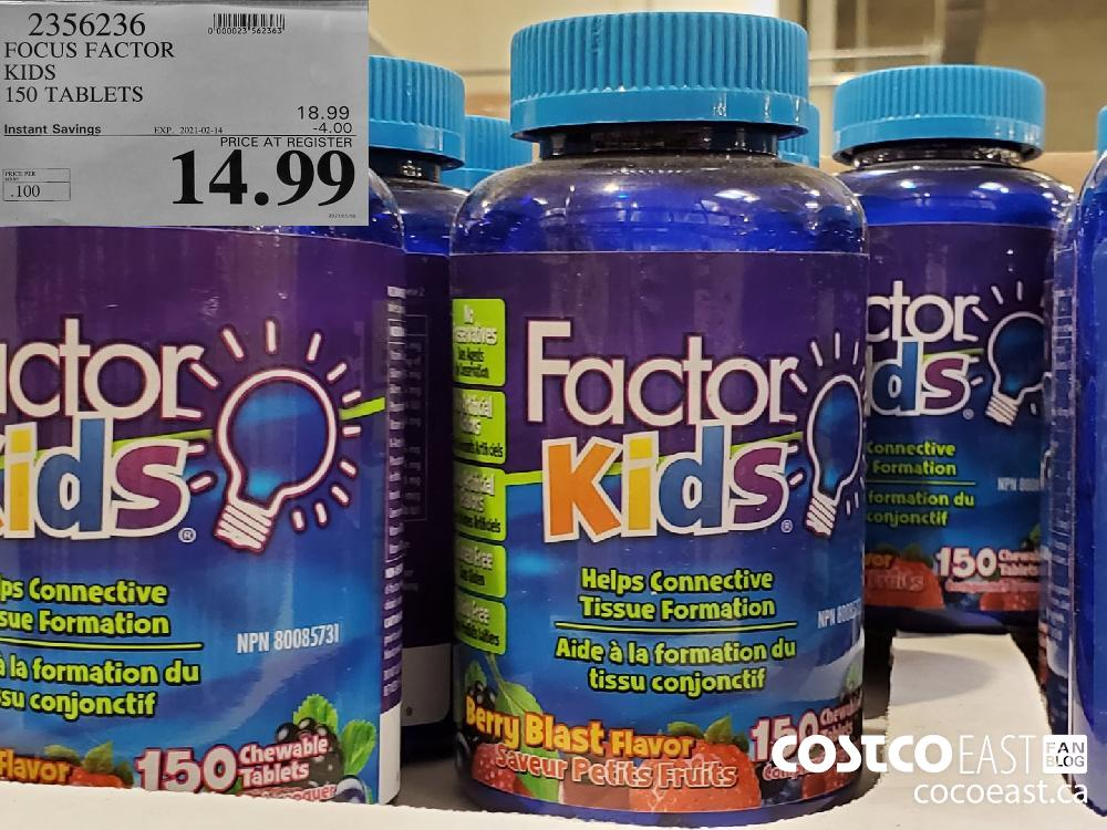 2356236 FOCUS FACTOR KIDS 150 TABLETS EXPIRY DATE: 2021-02-14 $14.99