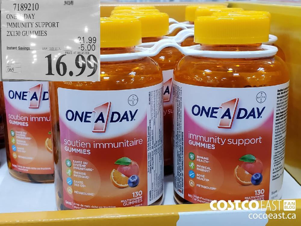 7189210 ONE DAY IMMUNITY SUPPORT 2X130 GUMMIES EXPIRY DATE: 2021-01-31 $16.99