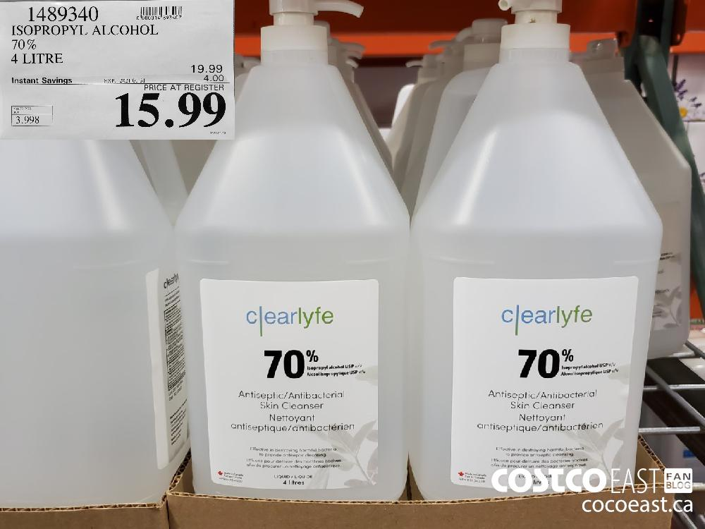 14893409 ISOPROPYL ALCOHOL 70% 4 LITRE EXPIRY DATE: 2021-01-31 $15.99