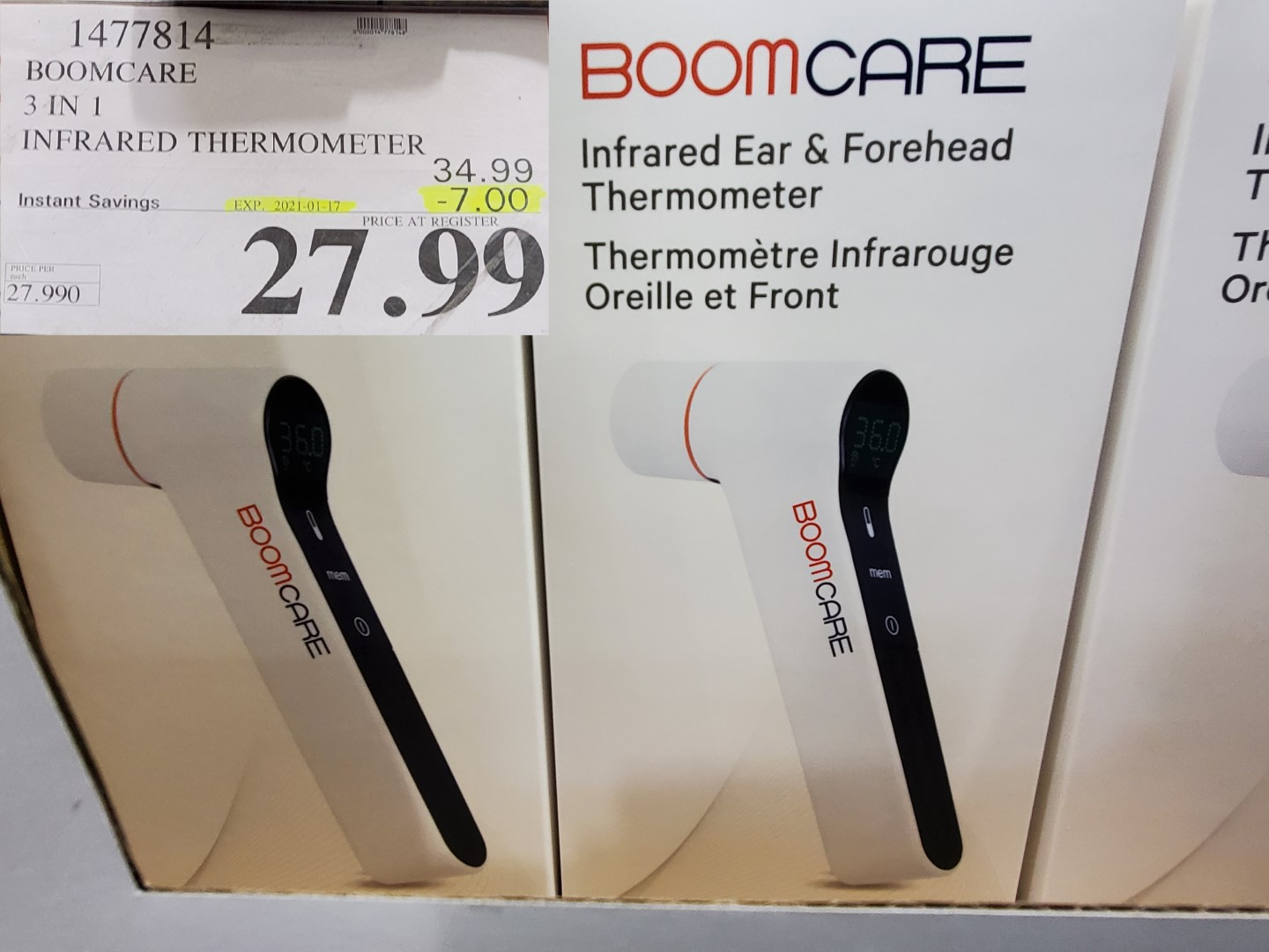 Costco Sale boomcare in ear and forhead thermometer