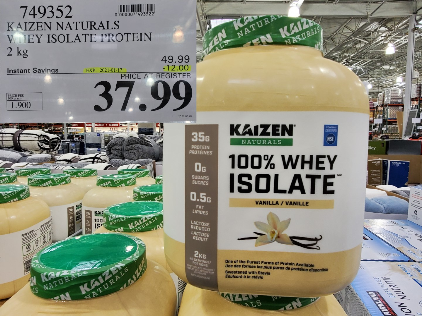 Costco Sale kaizen %100 whey isolate