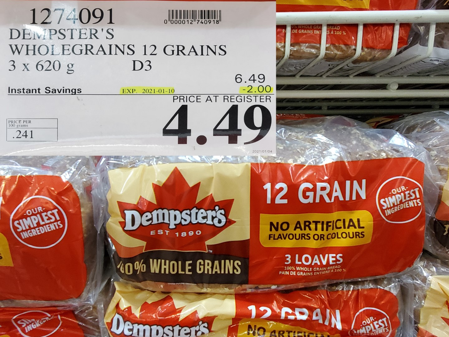Costco Sale demptsters 12 grain bread