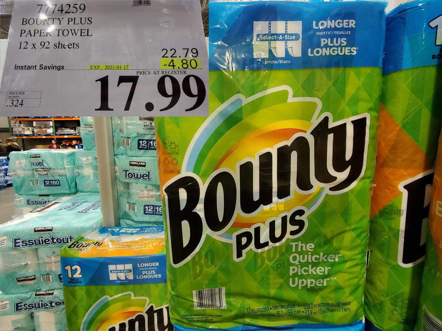 Costco Sale bounty plus paper towel