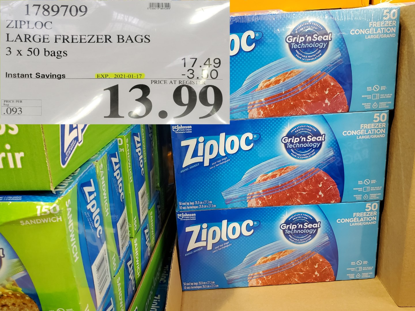 Costco Sale ziploc medium freezer bags