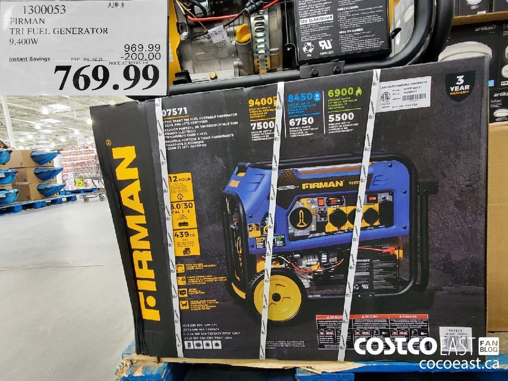 1300053 FIRMAN TRI FUEL GENERATOR 9 400W EXPIRY DATE: 2021-02-28 $769.99