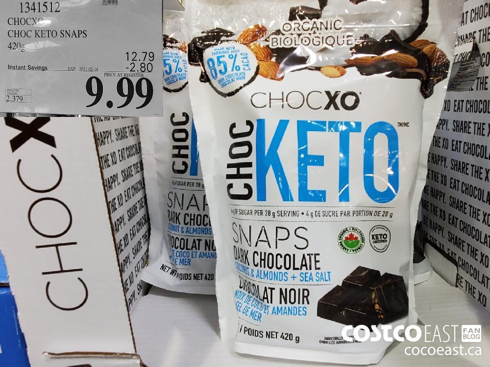 1341512 CHOCXO CHOC KETO SNAPS 420G EXPIRY DATE: 2021-02-14 $9.99